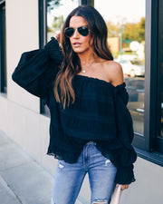 Spur Of The Moment Textured Ruffle Blouse - Black