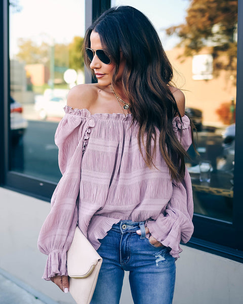 Spur Of The Moment Textured Ruffle Blouse - Mauve