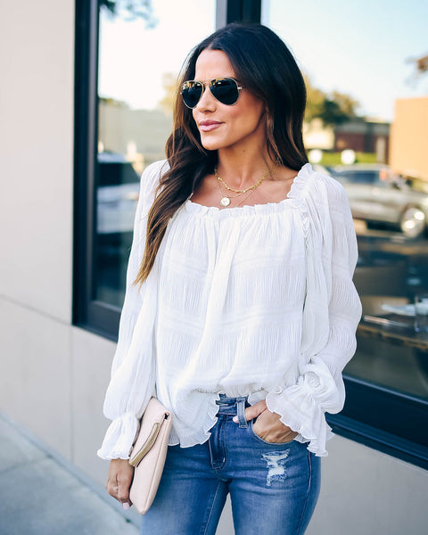 Spur Of The Moment Textured Ruffle Blouse - White