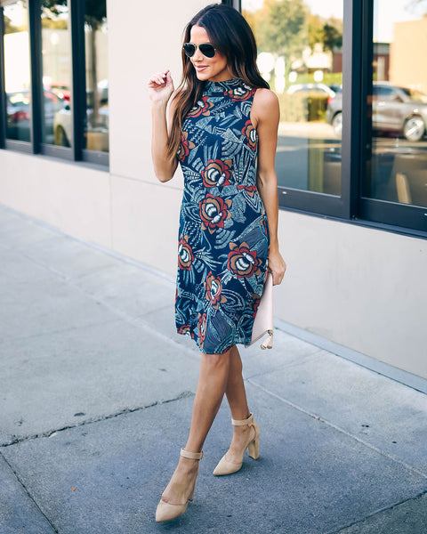 Sweet Citrus Floral Sleeveless Dress