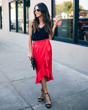 Inara Embossed Leopard Ruffle Midi Skirt - Red   - FINAL SALE
