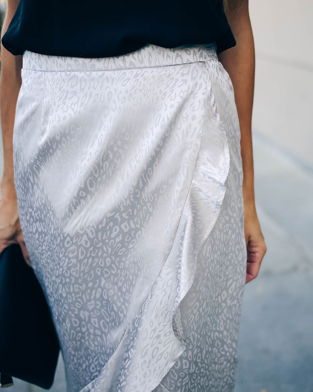 Inara Embossed Leopard Ruffle Midi Skirt - Silver  - FINAL SALE