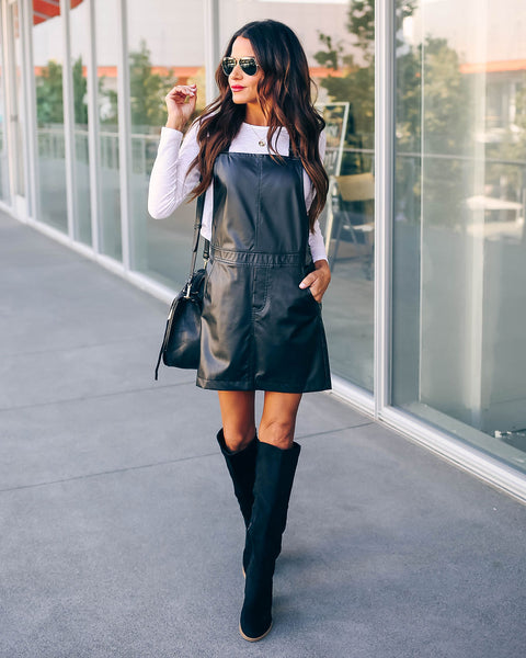 Cheers To You Faux Leather Pocketed Overall Dress