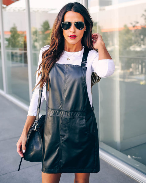 Cheers To You Faux Leather Pocketed Overall Dress   - FINAL SALE