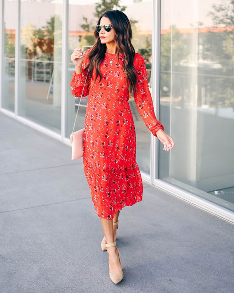 Fields Of Fall Long Sleeve Floral Midi Dress