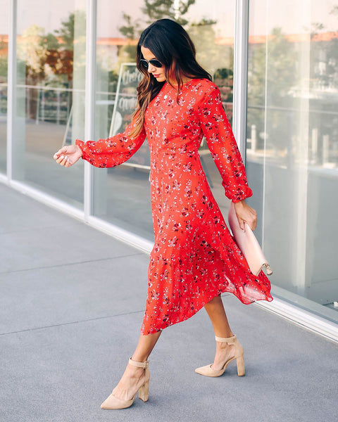 Fields Of Fall Long Sleeve Floral Midi Dress - FINAL SALE
