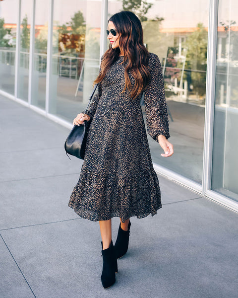 Get Set Go Long Sleeve Leopard Midi Dress