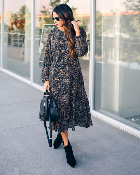 Get Set Go Long Sleeve Leopard Midi Dress- FINAL SALE