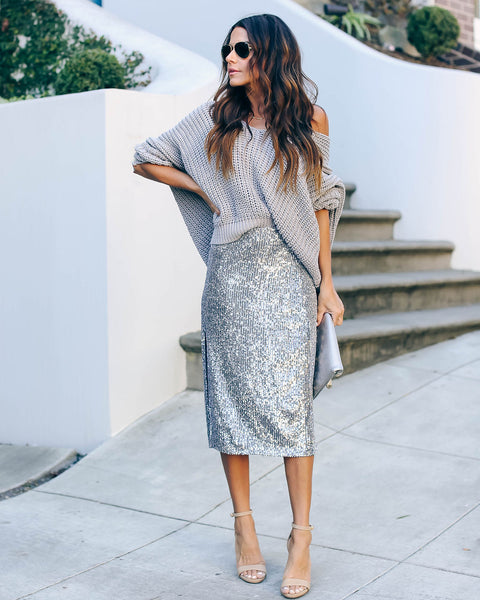 Knight In Shining Armor Sequin Midi Skirt