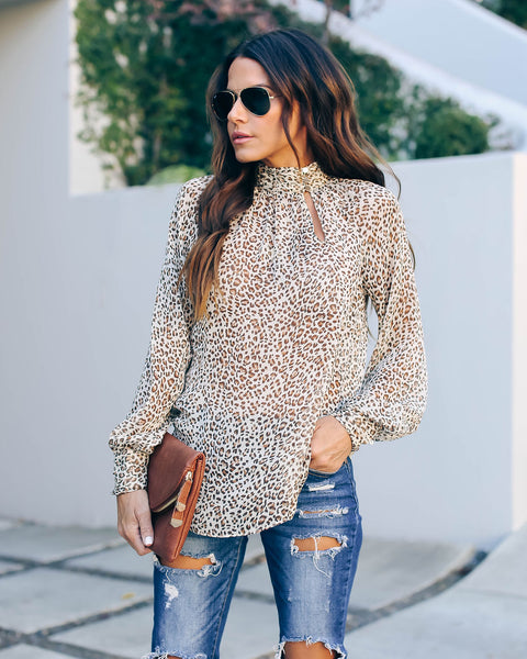 Boomer Leopard Keyhole Blouse