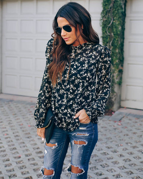 Moyses Floral Ruched Sleeve Blouse