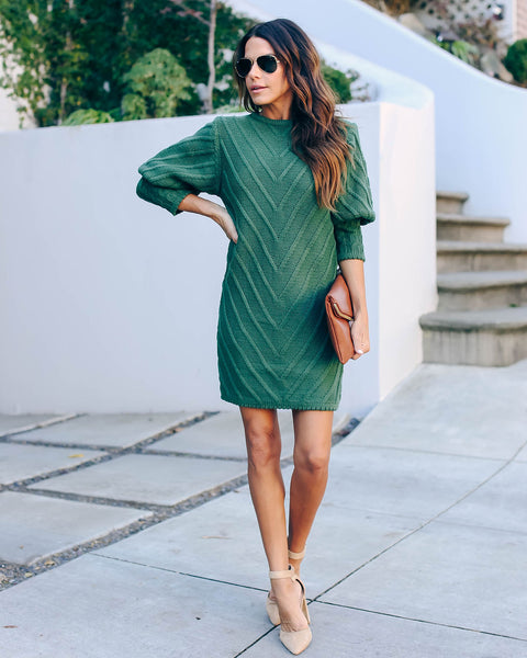 Table Talk Knit Sweater Dress - Hunter Green  - FINAL SALE