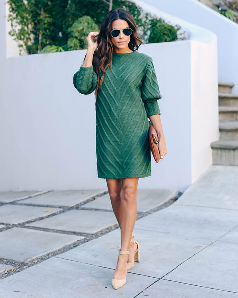 Table Talk Knit Sweater Dress - Hunter Green