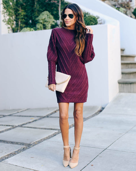 Table Talk Knit Sweater Dress - Plum   - FINAL SALE