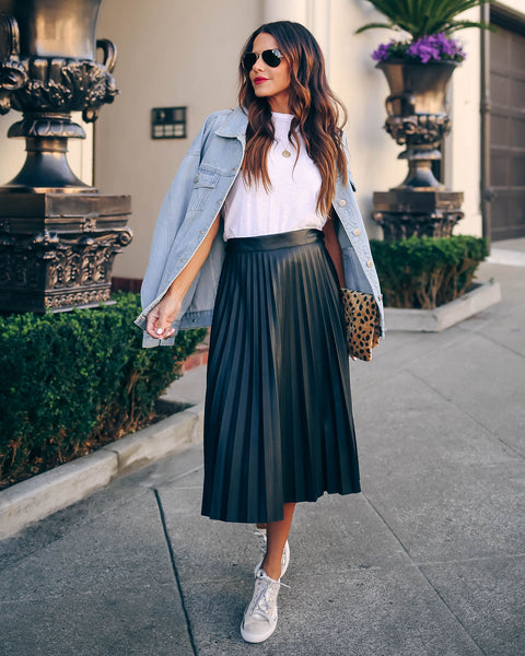 Hospitality Faux Leather Pleated Midi Skirt