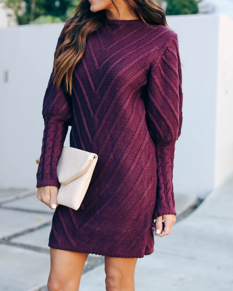 Table Talk Knit Sweater Dress - Plum