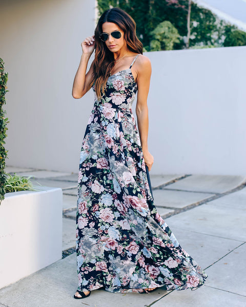 Astonishing Floral Ruffle Maxi Dress  - FINAL SALE