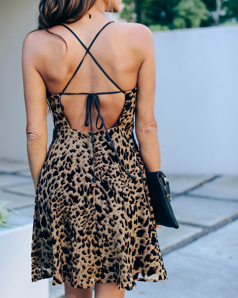 Rumor Going Round Velvet Burnout Leopard Dress  - FINAL SALE