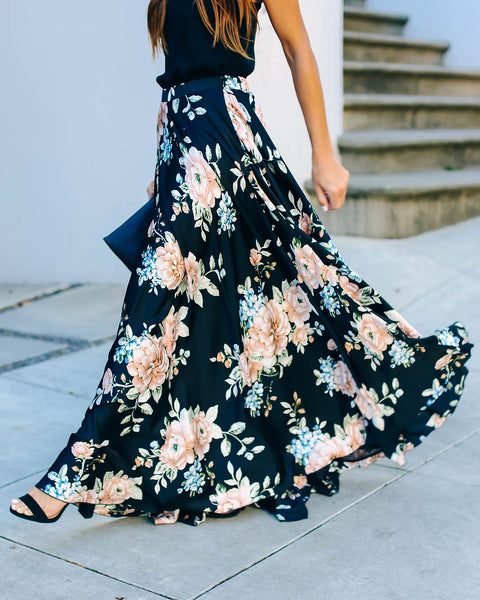 Lovers In The Night Satin Maxi Skirt  - FINAL SALE