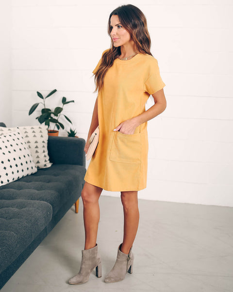 Betsie Pocketed Corduroy Shift Dress - Mustard