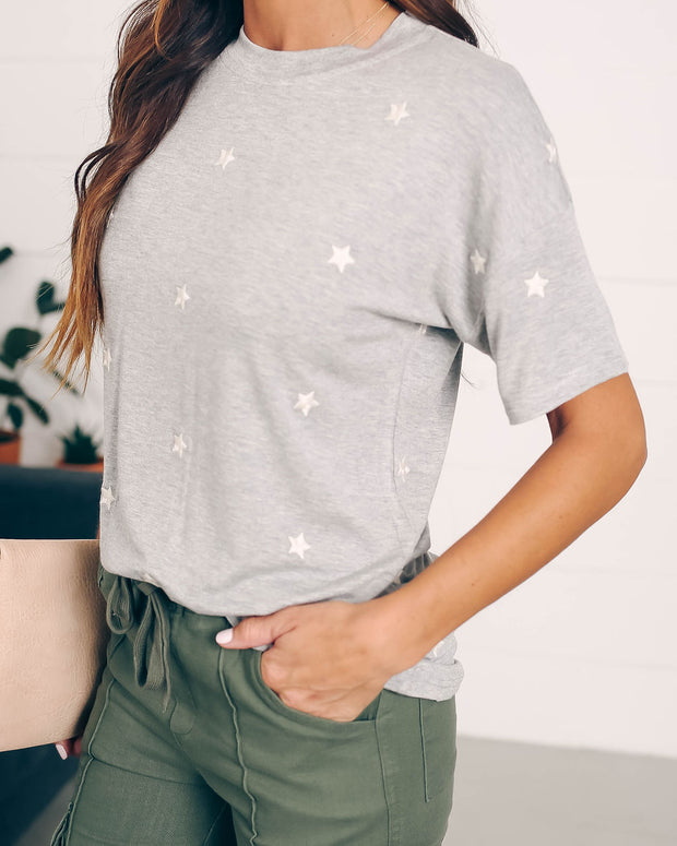 Little Dipper Cotton Embroidered Star Tee - Grey - FINAL SALE