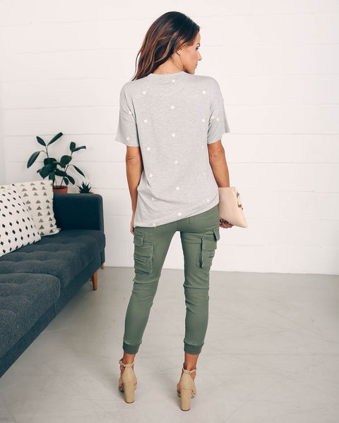 Little Dipper Cotton Embroidered Star Tee - Grey