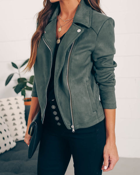 Tree Lighting Pocketed Faux Suede Jacket