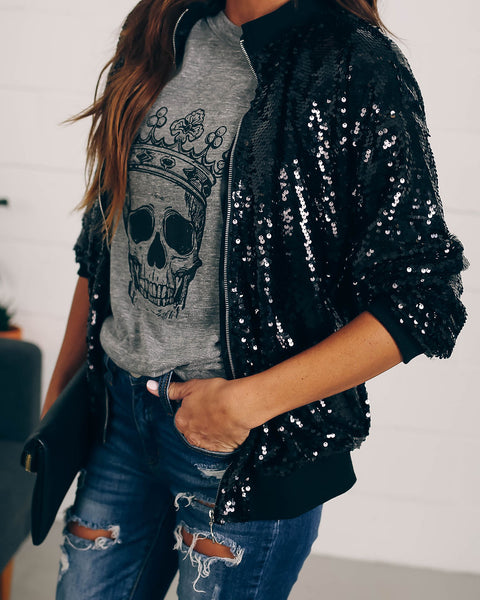 Like Gatsby Sequin Bomber Jacket