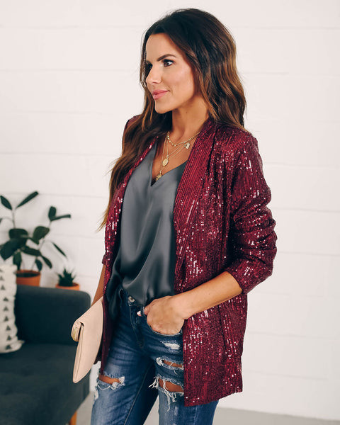 Chic Holiday Pocketed Sequin Blazer