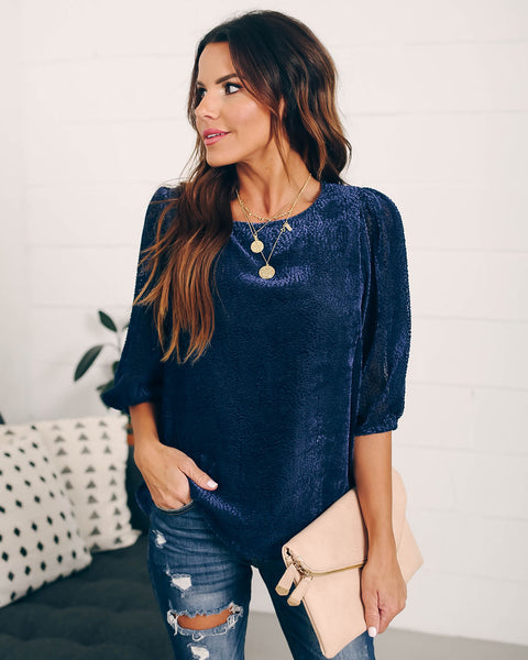 Walking On Ice Textured Velvet Top