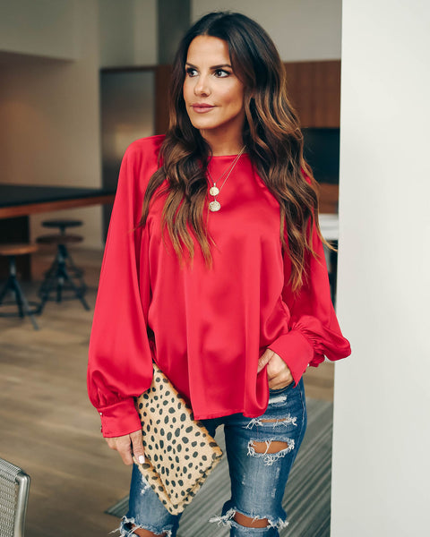 Kelly Satin Statement Blouse - Red