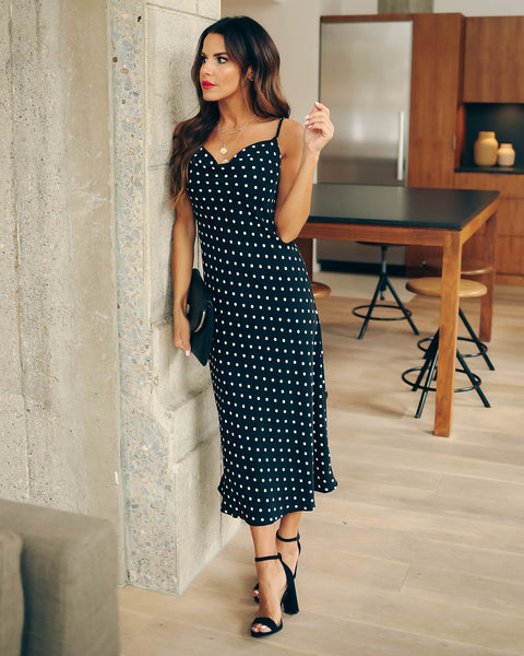 Cute Little Thing Polka Dot Midi Slip Dress