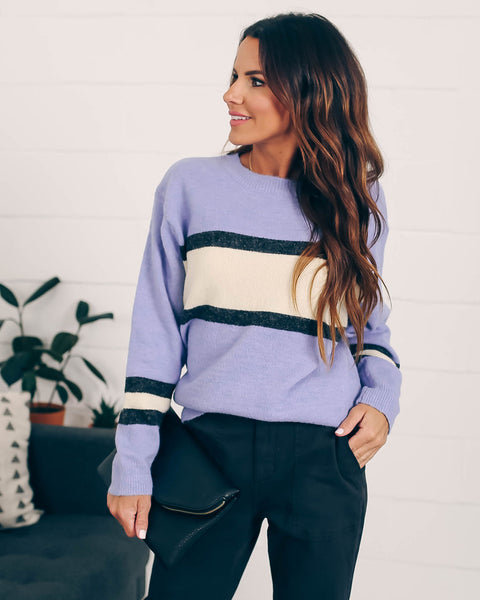 Mix And Match Striped Knit Sweater - Blue  - FINAL SALE