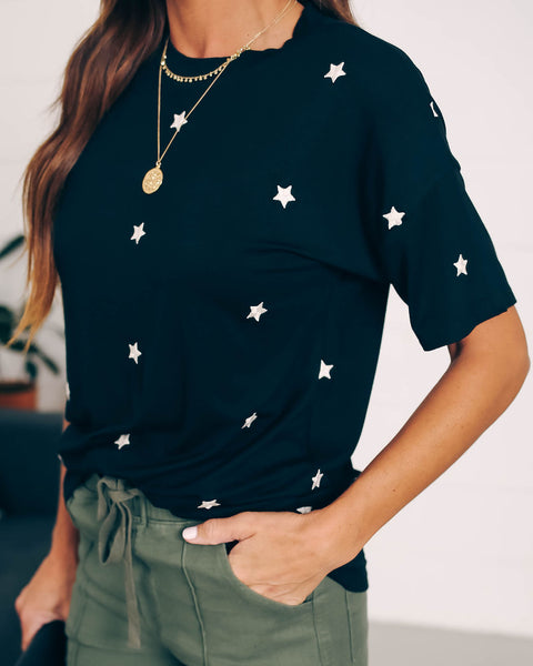 Little Dipper Cotton Embroidered Star Tee - Black