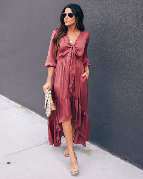 Rewarding Satin Pocketed High Low Maxi Dress - Mauve