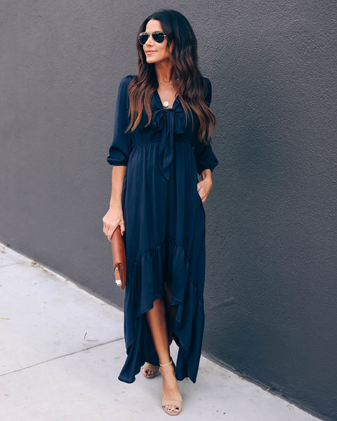 Rewarding Satin Pocketed High Low Maxi Dress - Navy