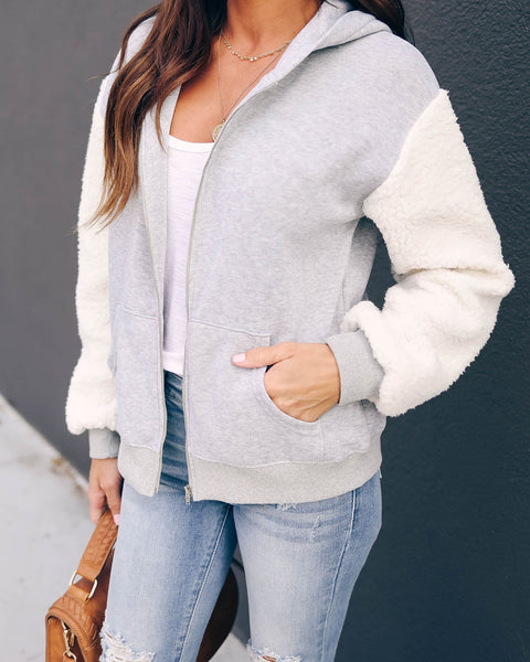 Brave The Elements Pocketed Sherpa Zip Up Knit Hoodie  - FINAL SALE