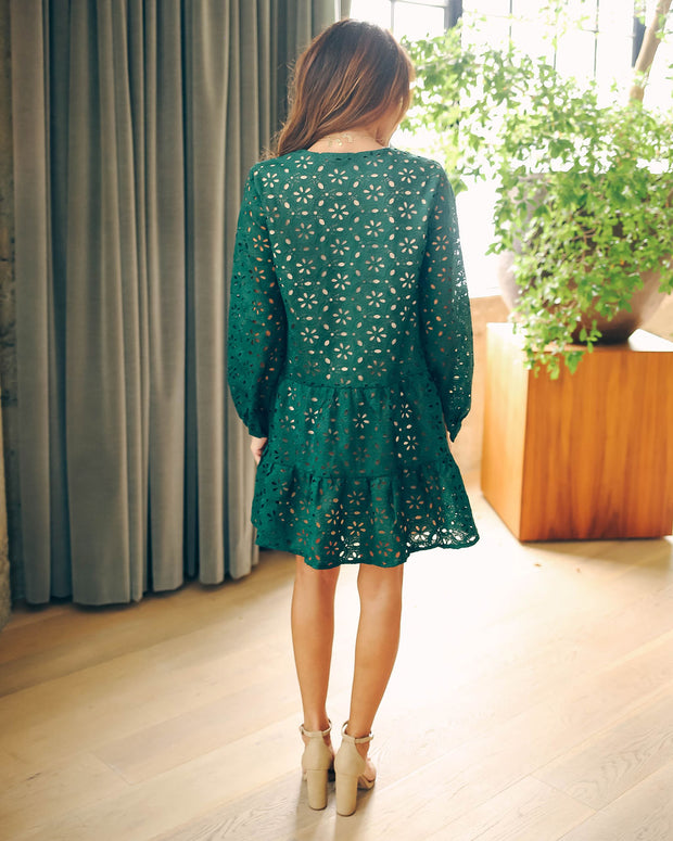 My Holiday Wish Tiered Crochet Eyelet Dress  - FINAL SALE