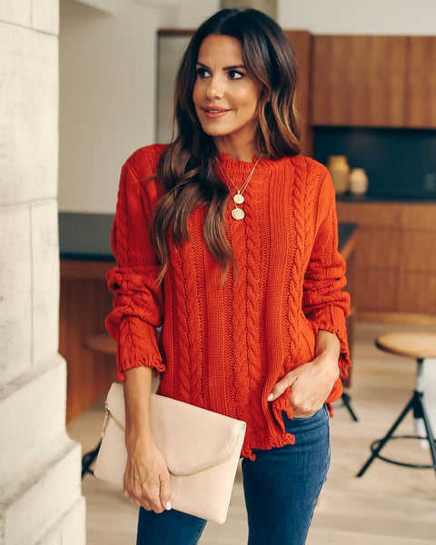 Dacey Distressed Cable Knit Sweater - Red - FINAL SALE