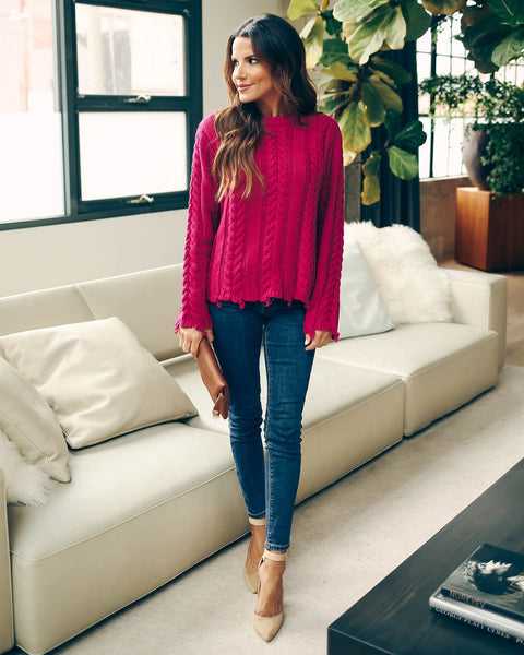 Dacey Distressed Cable Knit Sweater - Magenta  - FINAL SALE