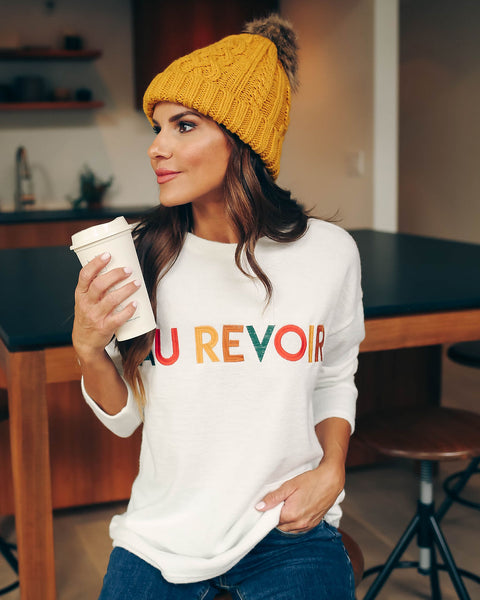 Au Revoir Embroidered Knit Top
