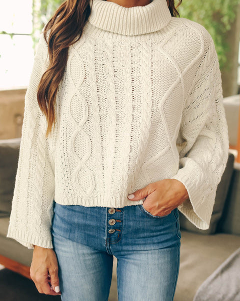 Warm And Toasty Cable Knit Turtleneck Sweater  - FINAL SALE
