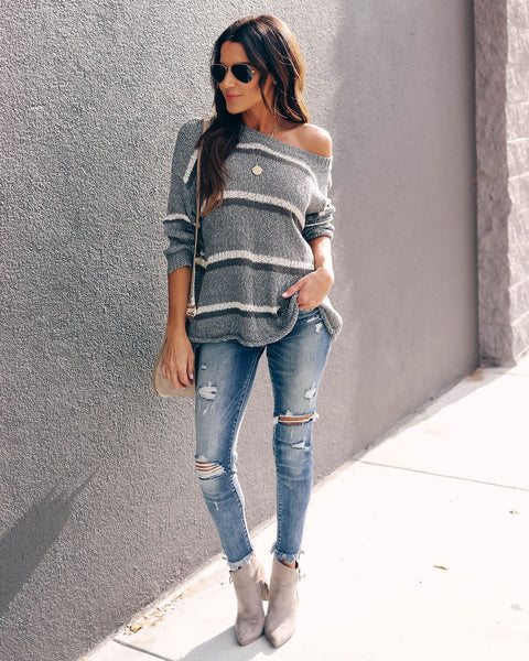 Up On The Rooftop Striped Sweater  - FINAL SALE