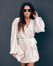 Flashy Favorite Velvet Sequin Wrap Dress