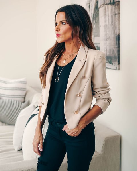 Kiera Cropped Blazer - Beige - FINAL SALE