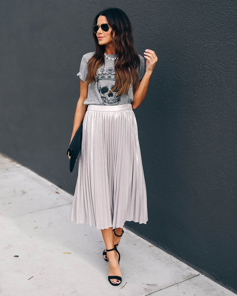 Harmonic Metallic Pleated Midi Skirt - Silver - FINAL SALE