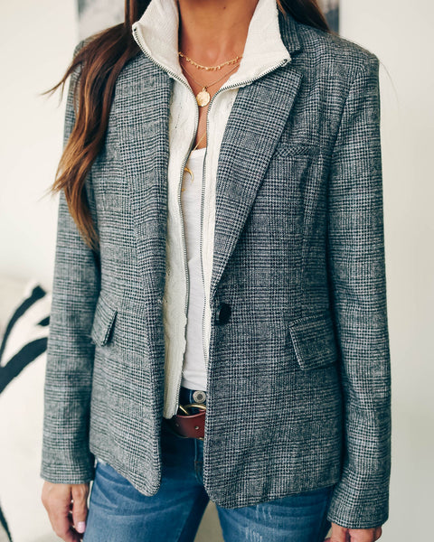 Commuter Pocketed Contrast Knit Blazer Jacket - FINAL SALE