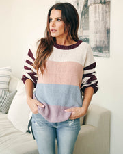 Morning Cartoons Colorblock Knit Sweater  - FINAL SALE