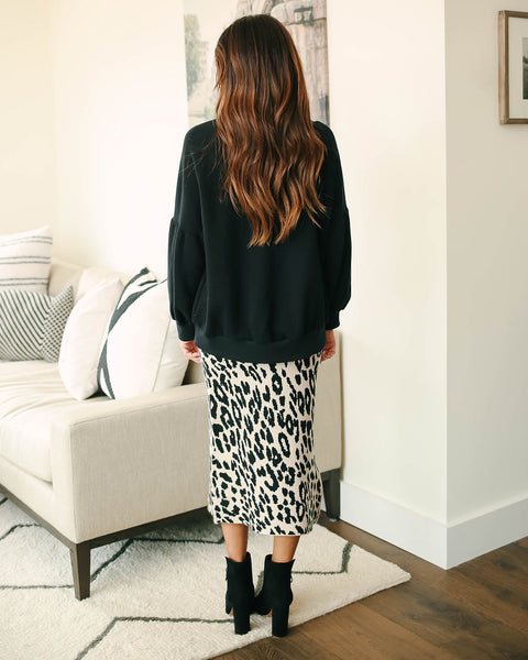Rush Hour Leopard Knit Midi Skirt  - FINAL SALE
