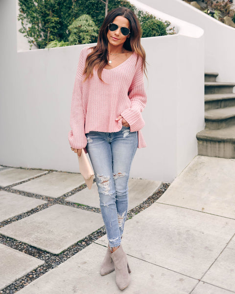 Locals Cotton V-Neck Sweater - Pink - FINAL SALE